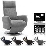 Cavadore TV-Sessel Cobra mit 2 E-Motoren/ Elektrisch verstellbarer Fernsehsessel mit Fernbedienung / Relaxfunktion, Liegefunktion / Ergonomie M / Belastbar bis 130 kg / 71 x 110 x 82 / Hellgrau
