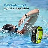 Muzili Fitness Armband IP68 Wasserdicht Fitness Tracker Sport Uhr Fitness Uhr Aktivitätstracker schrittzähler Pulsuhren Smart Watch Fitness Uhr für Kinder Frauen und Männerr(Black+Green) - 4