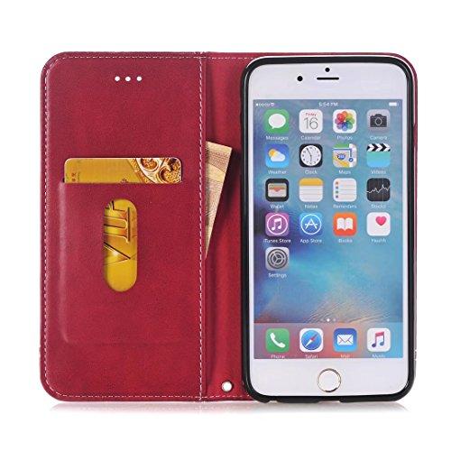 Coque Apple iPhone 6 Plus / 6s Plus Etui, Ougger Flip Pochette Cover Silicone Soft TPU Housse Protecteur PU Cuir Portefeuille avec Slot pour Carte Magnétique Stand-view Fonction Bumper Case Coquille ( Marron