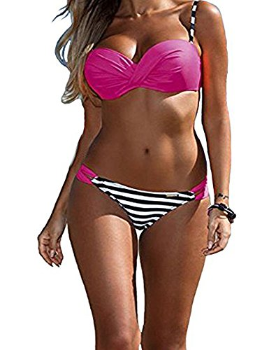 DODOING Bikini Set, Damen Sexy Push up Gepolstert Streifen Tupfen Triangel Brasilianische Bikini Beachwear Bademode