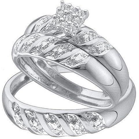 Hombre Mujer 10K oro blanco 0,09ct. Redondo Diamante Anillo De Compromiso Y Su Novia Trio Set