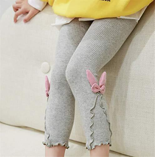 (Madlst Leggings für Kleinkinder, Mädchen, mit Rüschen, elastischer Taille S(0-2Y) hellgrau)