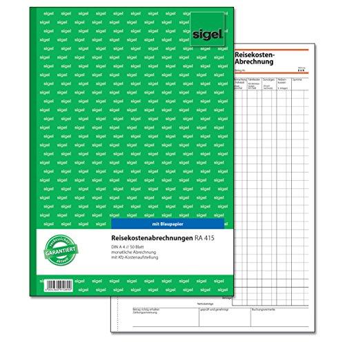 SIGEL RA415 Reisekostenabrechnung monatlich, A4, 50 Blatt