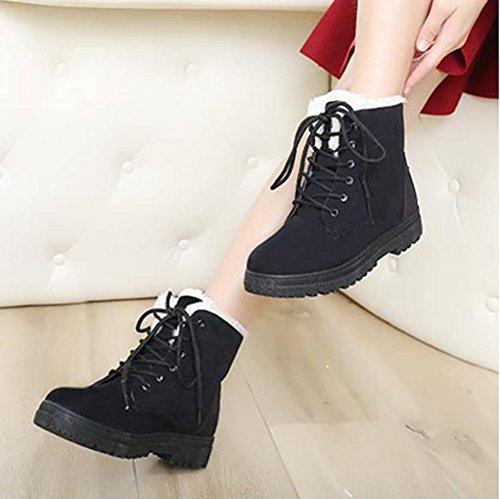 OVERMAL Chaussures Femmes Chaudes Classique Bottes De Neige D'Hiver De Dentelle Sport Chaud Bottes Noir