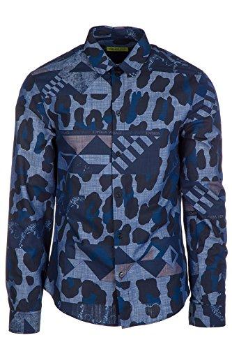 Versace-Jeans-Herrenhemd-Hemd-Herren-Langarm-Langarmhemd-blu