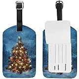 Carneg Etichetta per Bagagli Albero di Natale con luci in Viaggio in Inverno Etichetta Porta Nome per Porta valigie Bagaglio Bag 1 Pezzo
