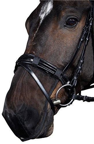 Reitsport Amesbichler HorseGuard Nasenfliegenschutz Insektenschutz für Pferde Fliegen Nüsternschutz Insektenmaulkorb mit Klett, schwarz, Gr. Noriker-Kaltblut
