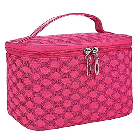 Vovotrade Cosmetic Bag Quartet Dot Gauze Portable (Rose Vif)