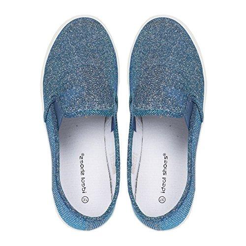 Ideal Shoes–slip-on Glitterlack Samira Blau - blau