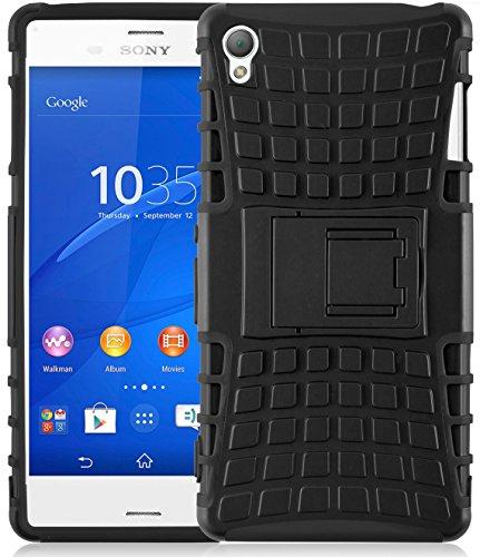 JAMMYLIZARD Outdoor Hülle für Sony Xperia Z3 | Schutzhülle [Alligator] Doppelschutz Handyhülle Hardcase aus Polycarbonat und Silikon Backcover Lifeproof Case Cover, Schwarz