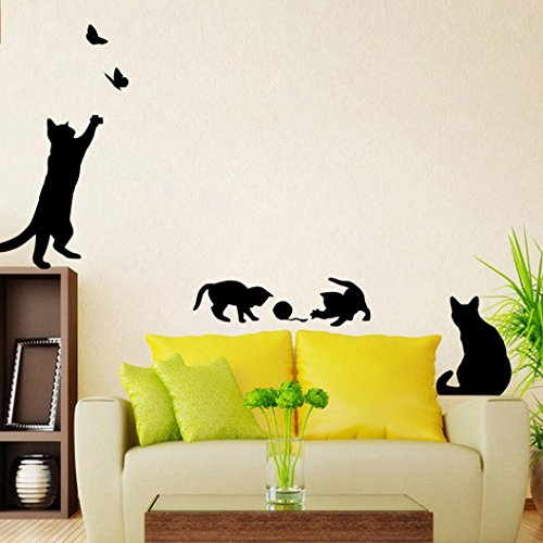 12shage Nette Katzen-Schmetterlings-Wand-Aufkleber-Kunst-Abziehbild-Wanddekor-Haus DIY