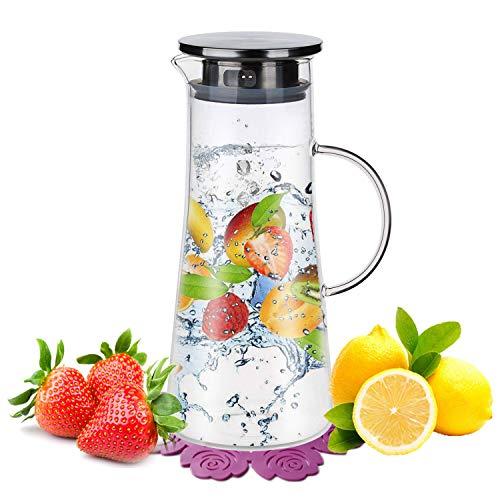 Wasserkaraffe ,BOQO1.5L Glaskaraffe, Wasserkrug mit Blütenblatt Edelstahldeckel Karaffe (Glaskanne)