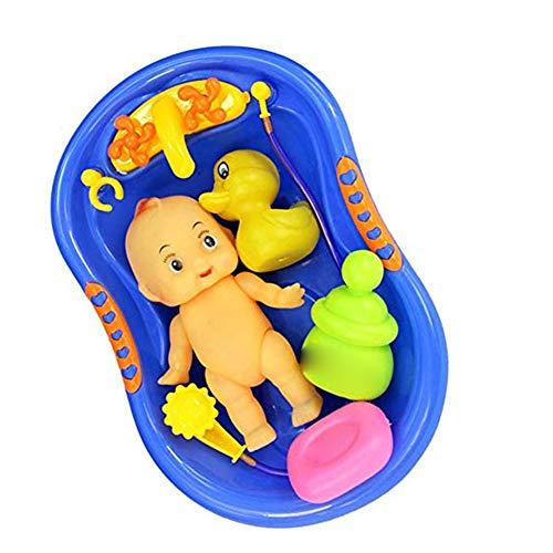 Xiton 1 Satz Baby Puppe Badezeit Set Jungen Pretend Play Badewanne Spielzeug mit Badewanne Spielzeug Seife für Kinder Kleinkinder Blau (Für Jungen Baby-puppe Kleinkind)