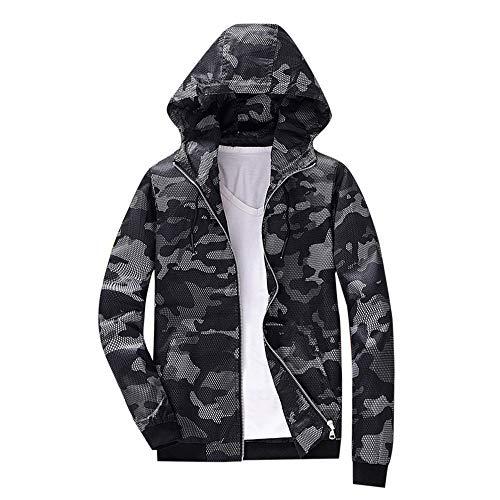 Xmiral Herren Camouflage Hoodie Sweatshirt Herbst Winter Print Langarm-Jacke (XL,Blau) -