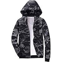SUCES Herren Camouflage Jacke Mesh Hoodie Mantel Kapuze Sweatshirt Lässig Reissverschluss Outwear Männer Herbst Winter Lange Ärmel Sweatjacke