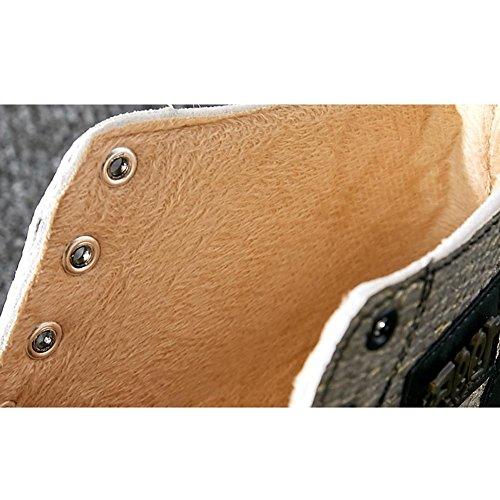 donne più spessi peluche Martin stivali corti in pelle scamosciata tacco piatto caldo scarpe casual merletto retro Student, GOLD-39 GOLD-37
