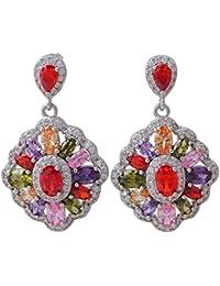 Gallant Multicolor Topacio Plata de ley 925Overlay Pendientes largos para mujer Fashion Jewelry E430