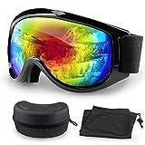 Migimi Skibrille, OTG Snowboard Brille Hochwertige Ski Schutzbrille, UV-Schutz Schneebrille Anti-Schwindel Anti-Fog Helmkompatible Augenschutz für Outdoor Aktivitäten - Bunte Brille