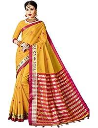 Craftsvilla Women's Kota Cotton Traditional Warli Embroidered Border Yellow Saree with Blouse Piece