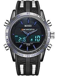 BINZI Casual Reloj De Pulsera Relojes Deportivos A Prueba De Agua Reloj Digital Reloj De Lujo De Lujo LED Doble Reloj Cronómetro Alarma Reloj Semana Con Negro Correa De Silicón