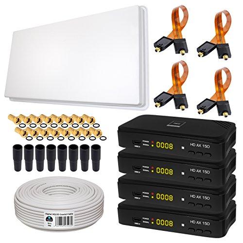 Generator-stahl-gehäuse (SAT KOMPLETT SET von HB-DIGITAL: Skymaster Hochleistungs-Sat-Flachantenne ✨ QFA 60-QUAD 4 Teilnehmer Direkt ➕ 4x Hochwertiger SAT-Recever ➕ Fensterhalterung ➕ 50m HQ-135 SAT-Kabel ➕ 4x SAT Fensterdurchführung GOLD ➕ 16x F-Stecker vergoldet ➕ 8x Gummitüllen ➕ 4x HDMI Kabel ■ FULL HD TV 3D 4K ■)
