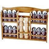 Renberg Wood - Set especiero, 15 piezas, 43 x 8 x 31 cm, acero inoxidable, vidrio y bambú