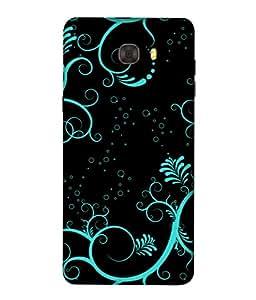 PrintVisa Designer Back Case Cover for Samsung C7 Pro (Artistic Design Of Flowers In Blue)