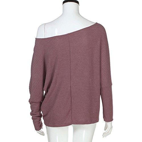 Pullover,ALIKEEY Damen lose beiläufige Schulter Lange Ärmel Stricken Pullover Bluse Tops T-Shirt Tumblr Esprit Sweatshirt (Pullover ärmeln Langen Stricken Frauen)