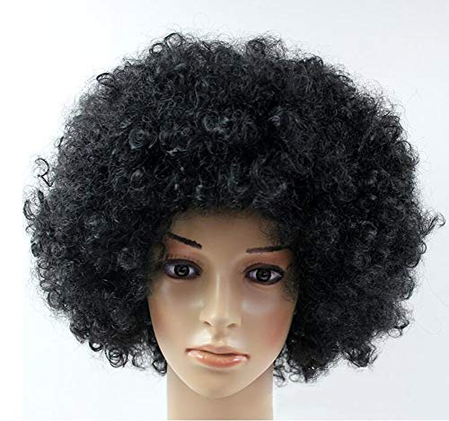 HANJIANJIH Afrikanische Explosion Kopf kleine lockige perücke/natürliche kunsthaar/für Halloween, Prom Party,Black (Köpfe Große Perücken Für Halloween)