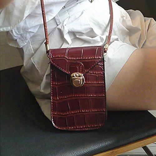 HeHe Mini Elegante Da Donna Borsa A Tracolla Cross-body Bag Portafoglio Marrone scuro