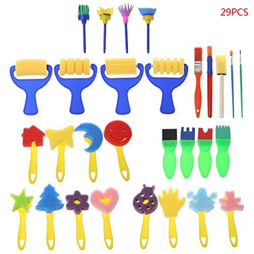 Vivitoch 29 Teile/Set waschbare Schwamm-Malpinsel für Kinder, Kinder, Kleinkinder, frühzeitiges Lernen, Spielzeug, Kunstbedarf, Geschenke (Alt Halloween Crafts 3 Jahre)