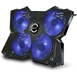 Expresstech @ Bleu Refroidisseur pour PC ordinateur portable Support Ventilé Gamer Gaming Plaque 1200RPM Refroidissement Rapide avec 4 Ventilateurs