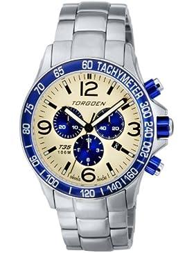 TORGOEN Swiss Herren-Armbanduhr Chronograph Quarz Edelstahl T35203
