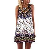 Damen Sommerkleid,Frauen Lose Sommer Vintage Ärmellose 3D Blumendruck Bohe Tank Short MiniKleid O-Ausschnitt Partykleid Cocktailkleid A-Line Von JAMINY (S)