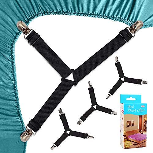 Felly clip lenzuola 4 pezzi lenzuola bretelle regolabili elastici 3-modi triangolo lenzuola con pinze clip per angoli lenzuola (nero)