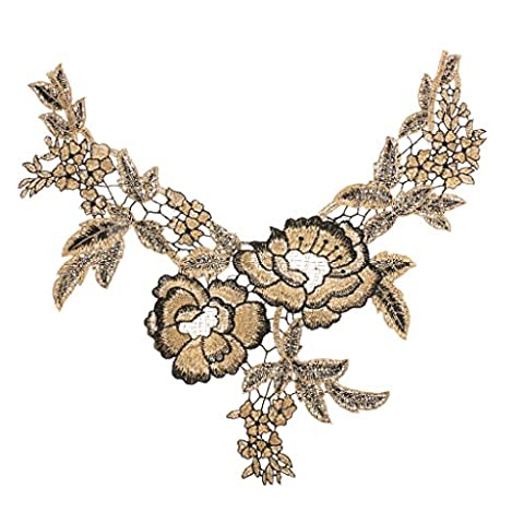MagiDeal Ethnic Embroidered Floral Neckline Collar Lace Trimming Applique - Black&Gold