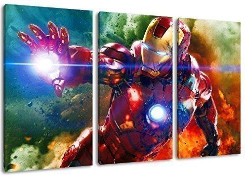 Ironman image, en 3parties Art abstrait sur toile, dimensions: 120x 80cm) Art -high-quality Imprimé à être suspendu sur le mur.