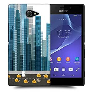 Snoogg busy city street 2600 Designer Protective Back Case Cover For Sony Xperia M2