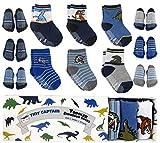 Kleinkind Boy Socken Baby jungen Dinosaurier Socken 1-3 Jahre alten rutschfeste 8-36 Monate Geschenk-Set (blau)