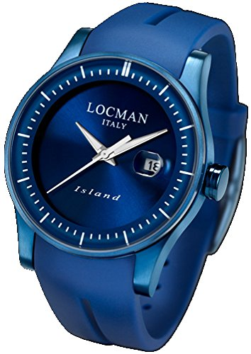 Locman Island/Men's Watch/dial Blue/Steel case, Titanium and PVD Blue/Silicone Strap ref. 0600BLBW-BLWSIB