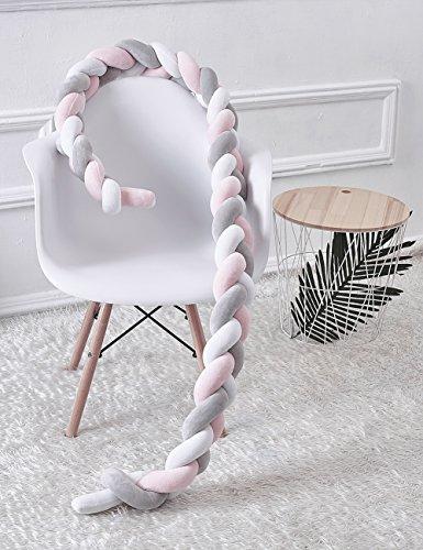 Kinderbett Knotenkissen Bettumrandung Stoßstange Baby Nestchen Weben Bettumrandung Kantenschutz Kopfschutz 1,5m/2m (2m, Pink-Weiß-Grau) - 5