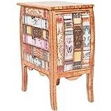 ts-ideen Cómoda gabinete con imitación de cuero en diseño vintage antiguo estilo libros