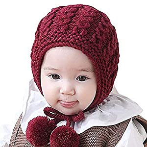 Ziory 1Pcs Maroon Toddler Baby Winter Earflaps Children Knitting Warm Ball Hats Cap Touca Infantil Newborn Photo Props…