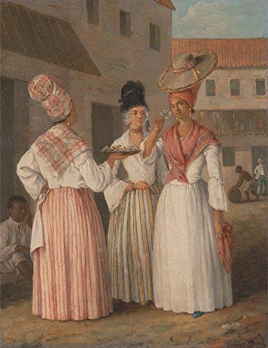Spiffing Prints Agostino Brunias - A West Indian Flower Girl - Medium - Matte - Black Frame Black Indian Girl