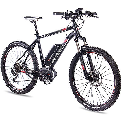 CHRISSON 27,5 Zoll E-Bike Mountainbike Bosch - E-Mounter 2.0 schwarz 52cm - Elektrofahrrad, Pedelec für Damen und Herren mit Bosch Motor Performance Line 250W, 63Nm - Intuvia Computer und 4 Fahrmodi