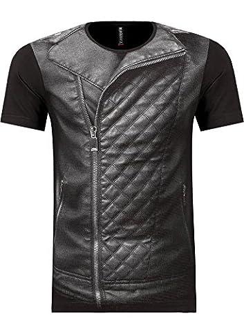 BlackRock kurzarm T-Shirt / Slim-Fit /cooler Westen-Style / Größen S-XXL, BLACK S