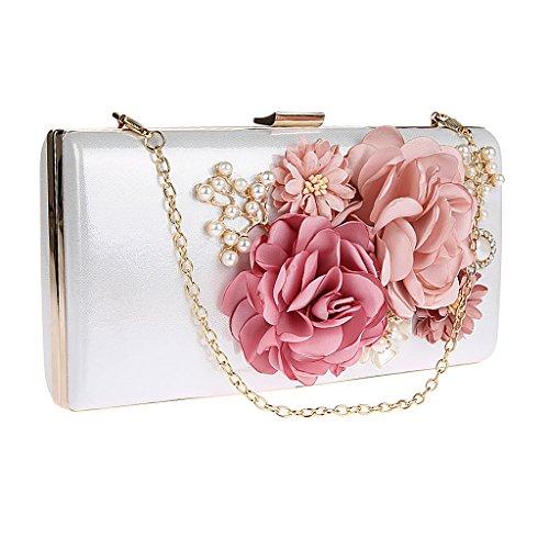 MagiDeal Handgemacht Damen Blumen Perlen Clutche Handtasche Abendtasche Partytasche für Party Hochzeit Theater Kino - Weiß