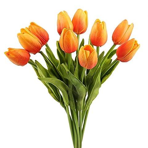 MIHOUNION 10 Stück Tulpen Künstliche Blumen Orange Kunstblumen Latex Real Touch Blumenstrauß Anlage für Hochzeits Bridal Wedding Bouquet Home Ausgangsdekoration