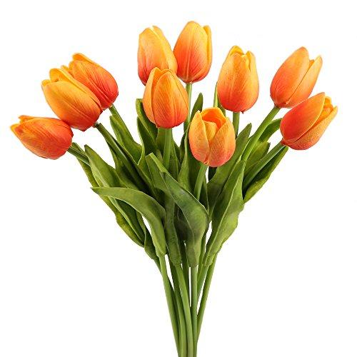 mihounion-10-pcs-artificial-tulips-fleurs-orange-artificial-pu-fleur-aux-feuilles-vertes-fake-bouque