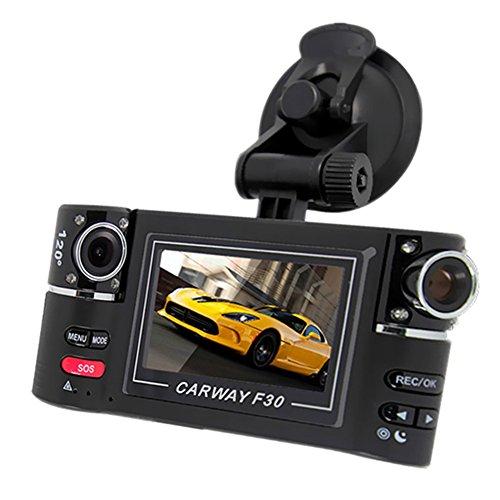 "Zibuyu 2.7"" Hd Dual Lens Car Dvr Car Camera Dual Cam Night Vision Vehicle Blck"